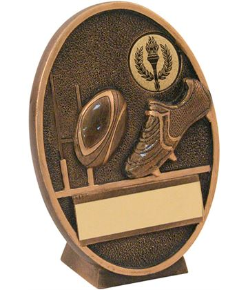 "Gold Resin Oval Rugby Ball & Boot Plaque Trophy 12.5cm (5"")"