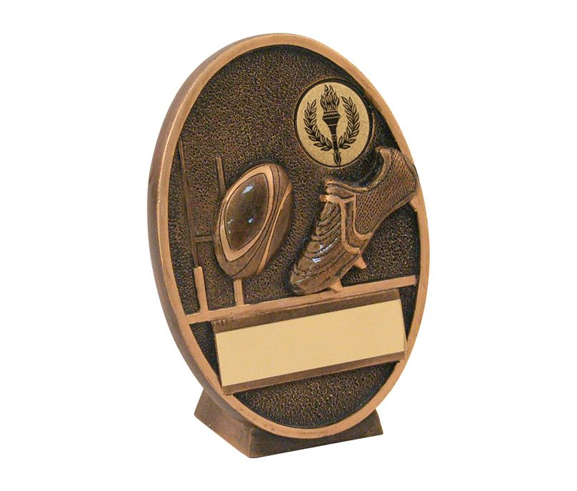 "Gold Resin Oval Rugby Ball & Boot Plaque Trophy 14cm (5.5"")"