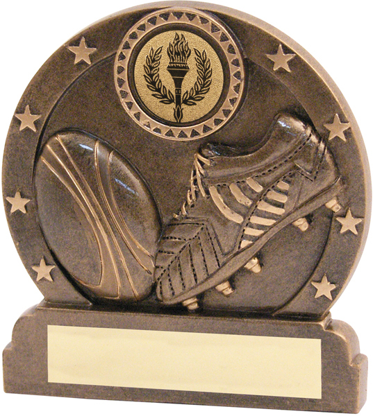"Resin Antique Gold Rugby Trophy 9.5cm (3.75"")"