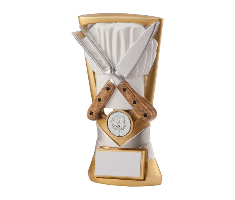 """Gold & Silver Resin Velocity Cooking Trophy 18.5cm (7.25"""")"""