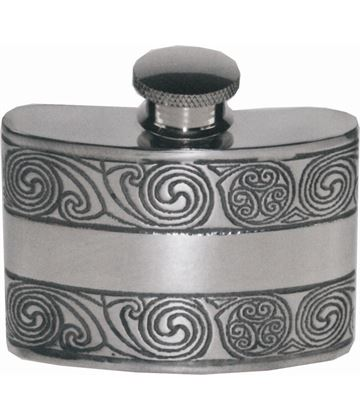 "2oz Kells Embossed Sheffield Pewter Hip Flask 7cm (2.75"")"