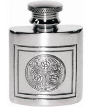 "1oz Kells Embossed Sheffield Pewter Purse Flask 5cm (2"")"