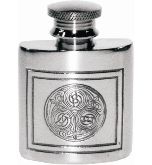 "1oz Kells Embossed Sheffield Pewter Purse Flask 5cm (2"")"