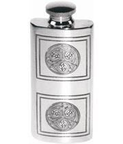 "2oz Kells Embossed Sheffield Pewter Purse Flask 9.5cm (3.75"")"