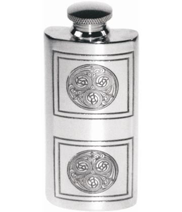 "2oz Kells Embossed Sheffield Pewter Purse Flask 9.5cm (3.75"")"