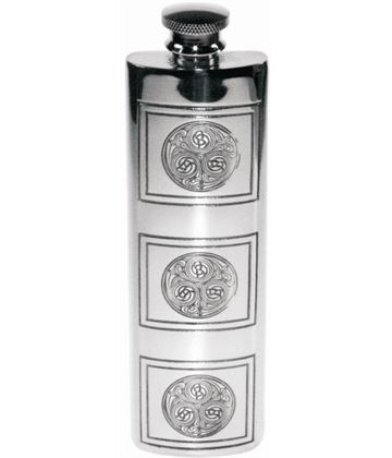 "3oz Kells Embossed Sheffield Pewter Purse Flask 14.5cm (5.75"")"