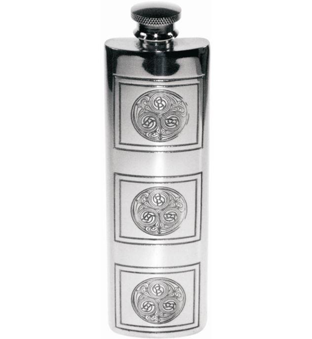 "3oz Kells Embossed Sheffield Pewter Purse Flask 14.5cm (5.75"")"