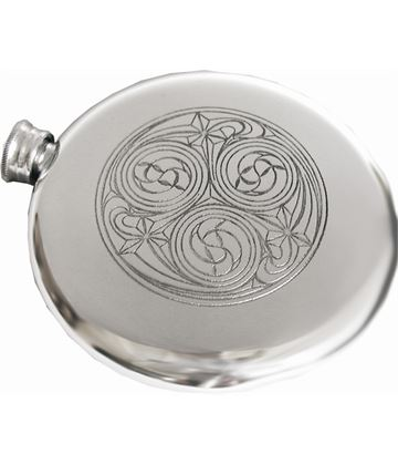 "Round 4oz Kells Embossed Sheffield Pewter Sporran Flask 10cm (4"")"