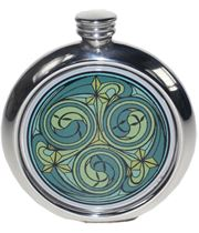 "Round 6oz Green Kells Picture Sheffield Pewter Hip Flask 11.5cm (4.5"")"