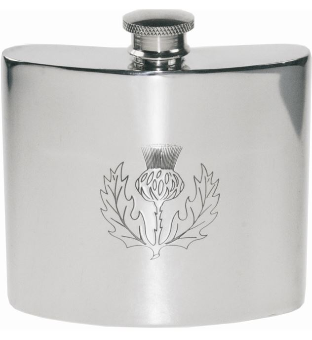 "6oz Scottish Thistle Embossed Sheffield Pewter Hip Flask 10cm (4"")"