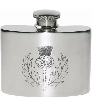 "2oz Scottish Thistle Embossed Sheffield Pewter Pocket Flask 7cm (2.75"")"