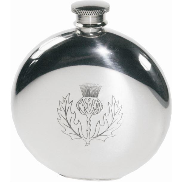 "Round 6oz Scottish Thistle Embossed Sheffield Pewter Hip Flask 11.5cm (4.5"")"