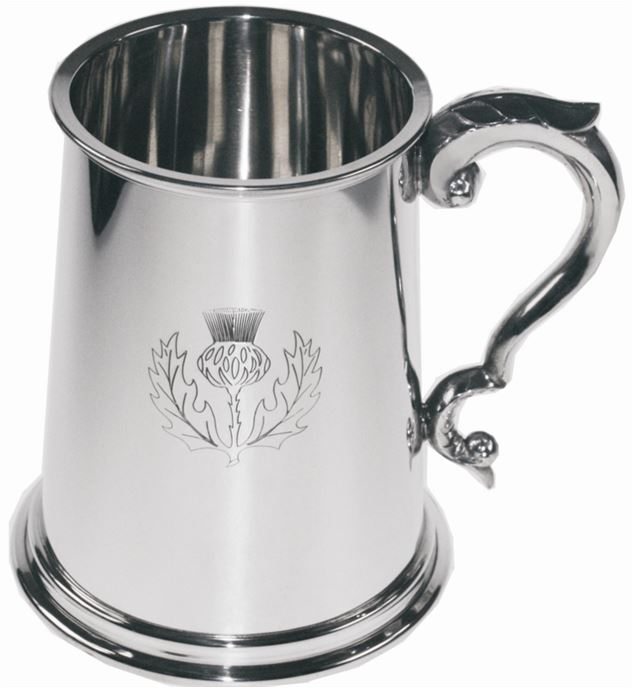 "Scottish Thistle Embossed 1pt Sheffield Pewter Tankard 12.5cm (5"")"