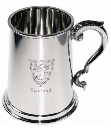 "Scottish Lion Rampant 1pt Sheffield Pewter Tankard 12.5cm (5"")"
