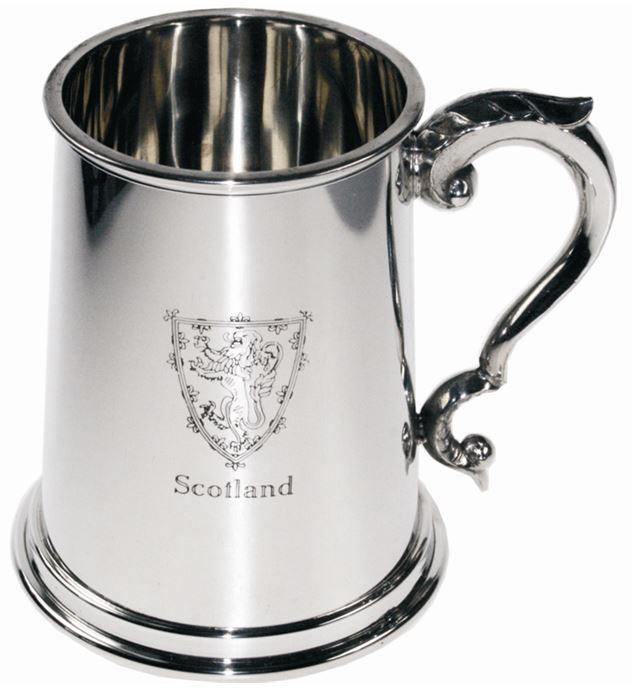 "Scottish Lion Rampant 1pt Sheffield Pewter Tankard 12.5cm (5"")"