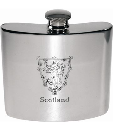 "6oz Scottish Lion Rampant Sheffield Pewter Hip Flask 10cm (4"")"