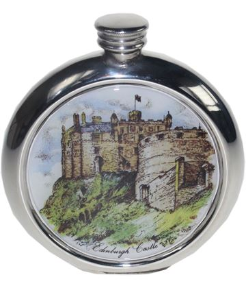 "Round 6oz Edinburgh Castle Picture Sheffield Pewter Hip Flask 11.5cm (4.5"")"