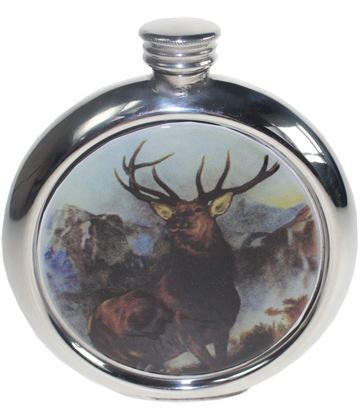 "Round 6oz Monarch of The Glen Picture Sheffield Pewter Hip Flask 11.5cm (4.5"")"