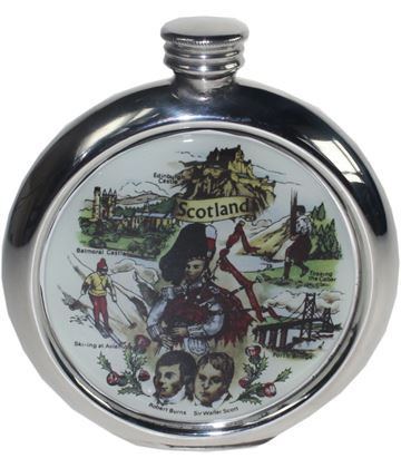 "Round 6oz Scottish Scenes Picture Sheffield Pewter Hip Flask 11.5cm (4.5"")"