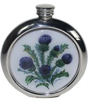 "Round 6oz Scottish Thistle Picture Sheffield Pewter Hip Flask 11.5cm (4.5"")"
