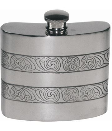 "6oz Kells Embossed Sheffield Pewter Hip Flask 10cm (4"")"