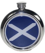 "Round 6oz St Andrews Flag Picture Sheffield Pewter Hip Flask 11.5cm (4.5"")"