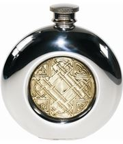 "Round 6oz Celtic Embossed Brass & Sheffield Pewter Hip Flask 11.5cm (4.5"")"