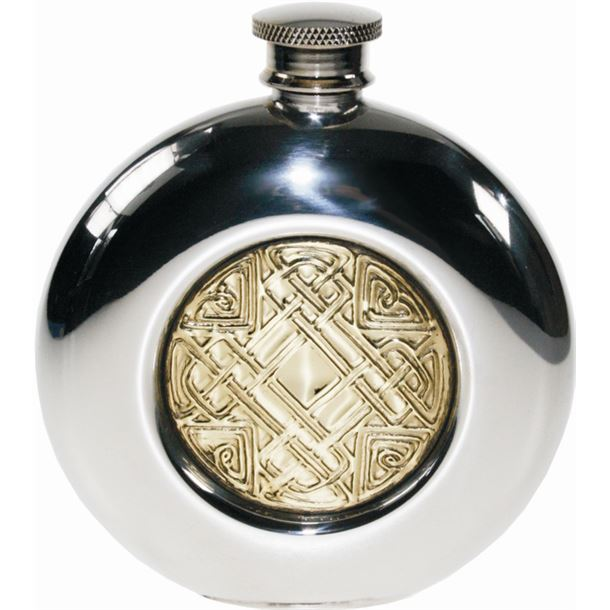 "Round 6oz Celtic Embossed Brass & Sheffield Pewter Hip Flask 11.5cm (4.5"")"