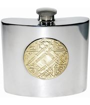 "6oz Celtic Embossed Brass & Sheffield Pewter Hip Flask 10cm (4"")"