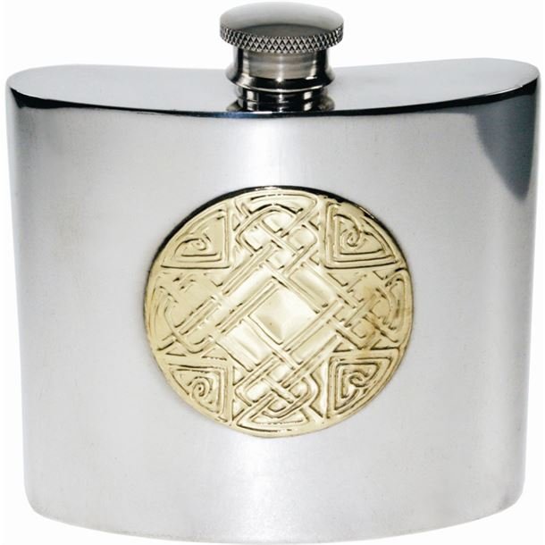 "6oz Celtic Embossed Brass & Sheffield Pewter Hip Flask 10cm (4"")"