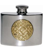"2oz Celtic Embossed Brass & Sheffield Pewter Pocket Flask 7cm (2.75"")"