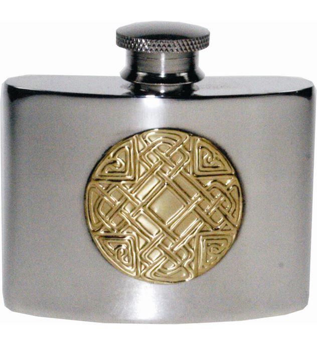 """2oz Celtic Embossed Brass & Sheffield Pewter Pocket Flask 7cm (2.75"""")"""