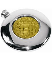 "4oz Celtic Embossed Brass & Sheffield Pewter Sporran Flask 10cm (4"")"