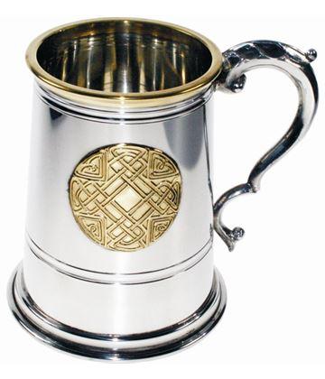 "1pt Brass Trimmed Celtic Circle Sheffield Pewter Tankard 12.5cm (5"")"