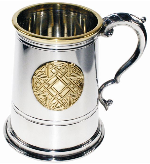 "1pt Brass Trimmed Celtic Circle Sheffield Pewter Tankard 12.5cm (5"")"