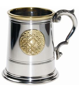 "1/2pt Brass Trimmed Celtic Circle Sheffield Pewter Tankard 9.5cm (3.75"")"