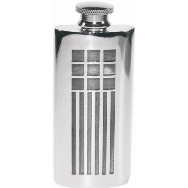 "2oz Mackintosh Embossed Sheffield Pewter Purse Flask 9.5cm (3.75"")"