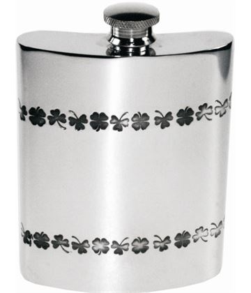 "6oz Shamrock Embossed Sheffield Pewter Hip Flask 11cm (4.25"")"