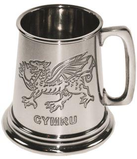 "Welsh Dragon Embossed 1/4pt Sheffield Pewter Tankard 7.5cm (3"")"