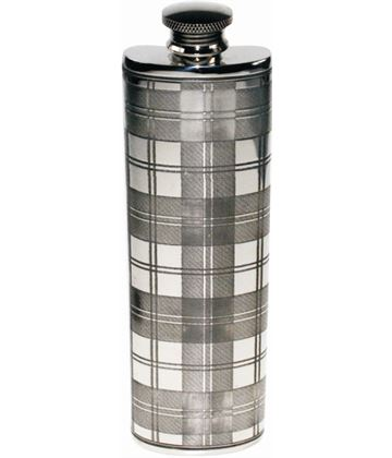 "3oz Tartan Patterned Sheffield Pewter Purse Flask 14.5cm (5.75"")"