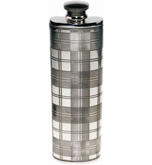 """3oz Tartan Patterned Sheffield Pewter Purse Flask 14.5cm (5.75"""")"""