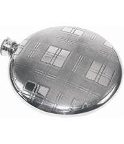 "Round 4oz Tartan Patterned Sheffield Pewter Sporran Flask 10cm (4"")"
