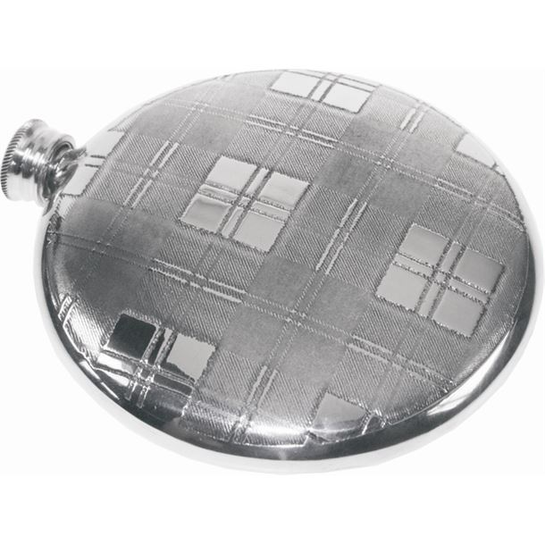 "Round 4oz Tartan Patterned Sheffield Pewter Sporran Flask 10cm (4"")"