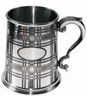 "1pt Tartan Patterned Sheffield Pewter Tankard 12.5cm (5"")"