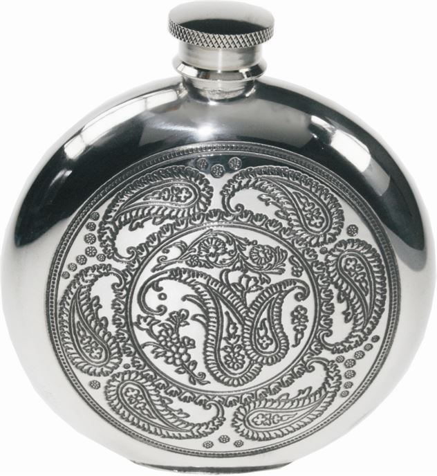 "Round 6oz Paisley Patterned Sheffield Pewter Hip Flask 11.5cm (4.5"")"