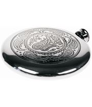 "Round 4oz Paisley Patterned Sheffield Pewter Sporran Flask 10cm (4"")"