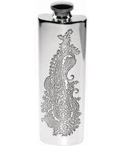 "3oz Paisley Patterned Sheffield Pewter Purse Flask 14.5cm (5.75"")"