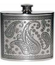 "6oz Paisley Patterned Sheffield Pewter Hip Flask 10cm (4"")"