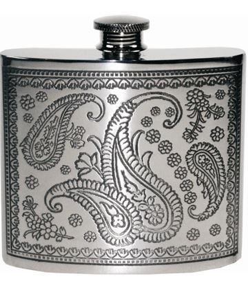 "6oz Paisley Patterned Sheffield Pewter Hip Flask 10cm (4"")"