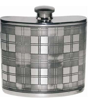 "6oz Tartan Patterned Sheffield Pewter Hip Flask 10cm (4"")"
